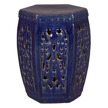 Hexagon Pierced Ceramic Garden Stool