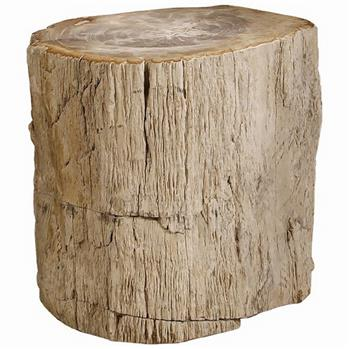 Inez Industrial Loft Petrified Wood Side End Table