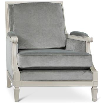 Maureen Hollywood Regency Grey Velvet Ivory Lacquer Wood Armchair