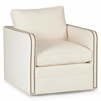 Reeves Classic Classic Ivory Linen Upholstered Swivel Arm Chair