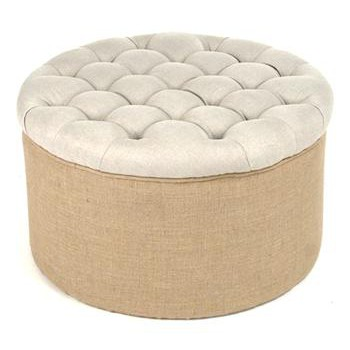Riley French Country Round Linen Burlap Tufted Ottoman