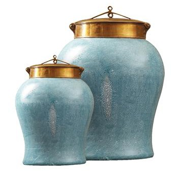 Turquoise Faux Shagreen Asian Porcelain Bronze Lidded Tea Jar