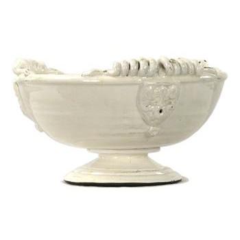 Tuscan White Ceramic Large Footed Pedestal Fruit Bowl