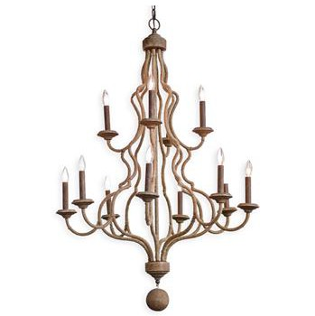Vallarta Coastal Beach Wood 2 Tier Jute Chandelier