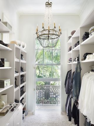 closet with chandelier