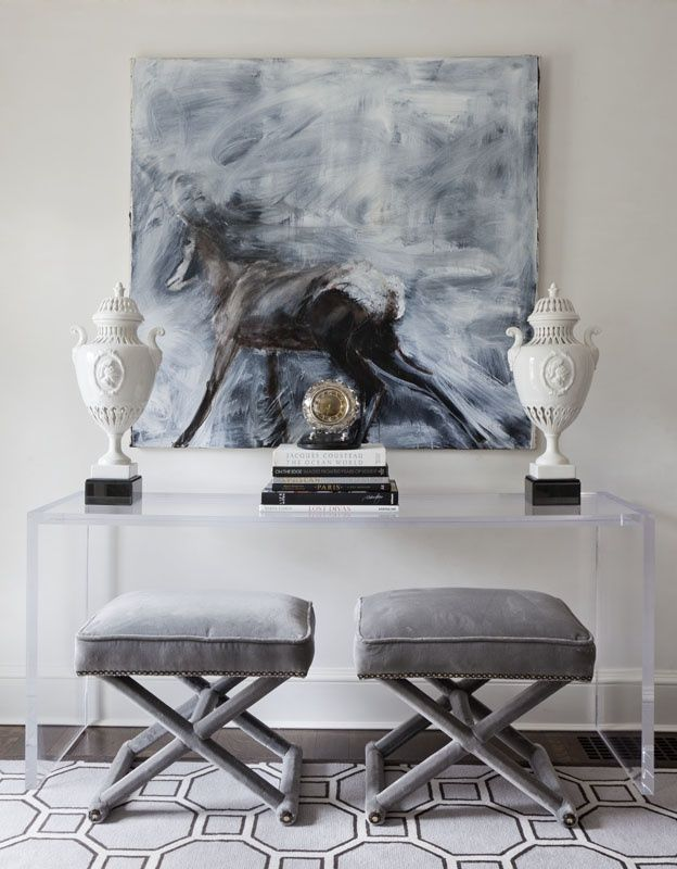 desk with designer stools and high styling