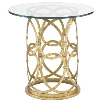 Round Gold Metal Side End Table