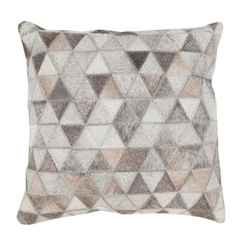 Aviston Rustic Lodge Triangle Hair on Hide Pillow