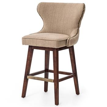 English Tufted Beige Swivel Counter Stool