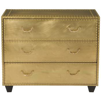 Patinated Brass 3 Drawer Dresser