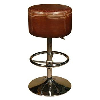 Rustic Retro Distressed Top Grain Leather Brown Barstool