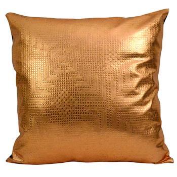 Jett Geometric Bronze Faux Leather Pillow