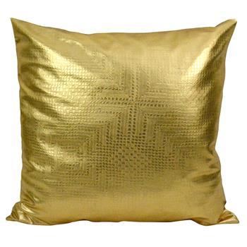 Jett Geometric Gold Faux Leather Pillow