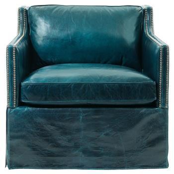Nailhead Blue Leather Armchair