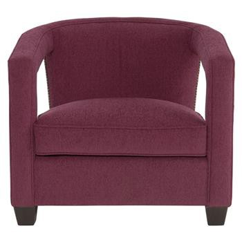 Bright Nickel Nailhead Purple Armchair