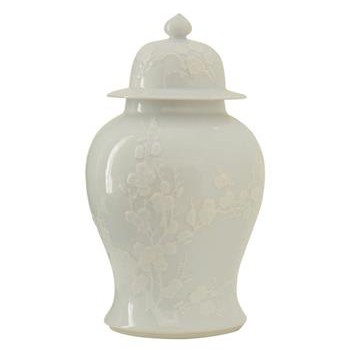 Blanc de Chine White Porcelain Cherry Blossom Ginger Temple Jar