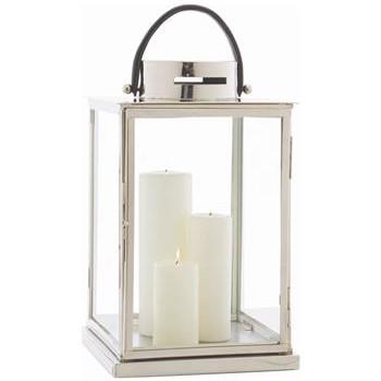 Carmel Coastal Beach Glass Nickel Candle Lantern
