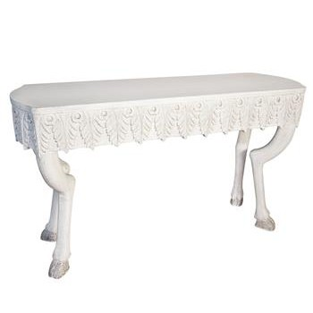 Caspian White Weathered Hoof Leaf Console Table