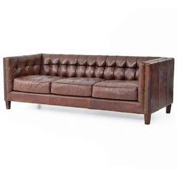 Christopher Tufted Straight Back Brown Leather Sofa