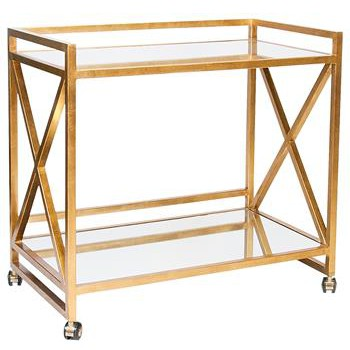 Kerry Gold Leaf Mirror Serving Bar Cart