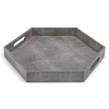 Morro Charcoal Faux Shagreen Hexagon Tray