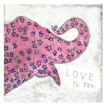 Pink Elephant 'I Love You' Wall Art