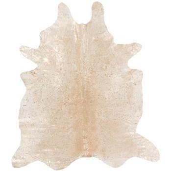 raja cream gold metallic cowhide rug
