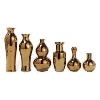 Set of 6 Porcelain Antique Gold Plated Vase Set