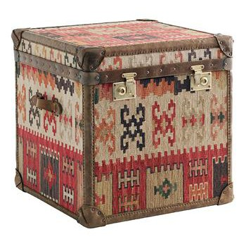 Taos Kilim Tapestry Cube Chest Side End Table