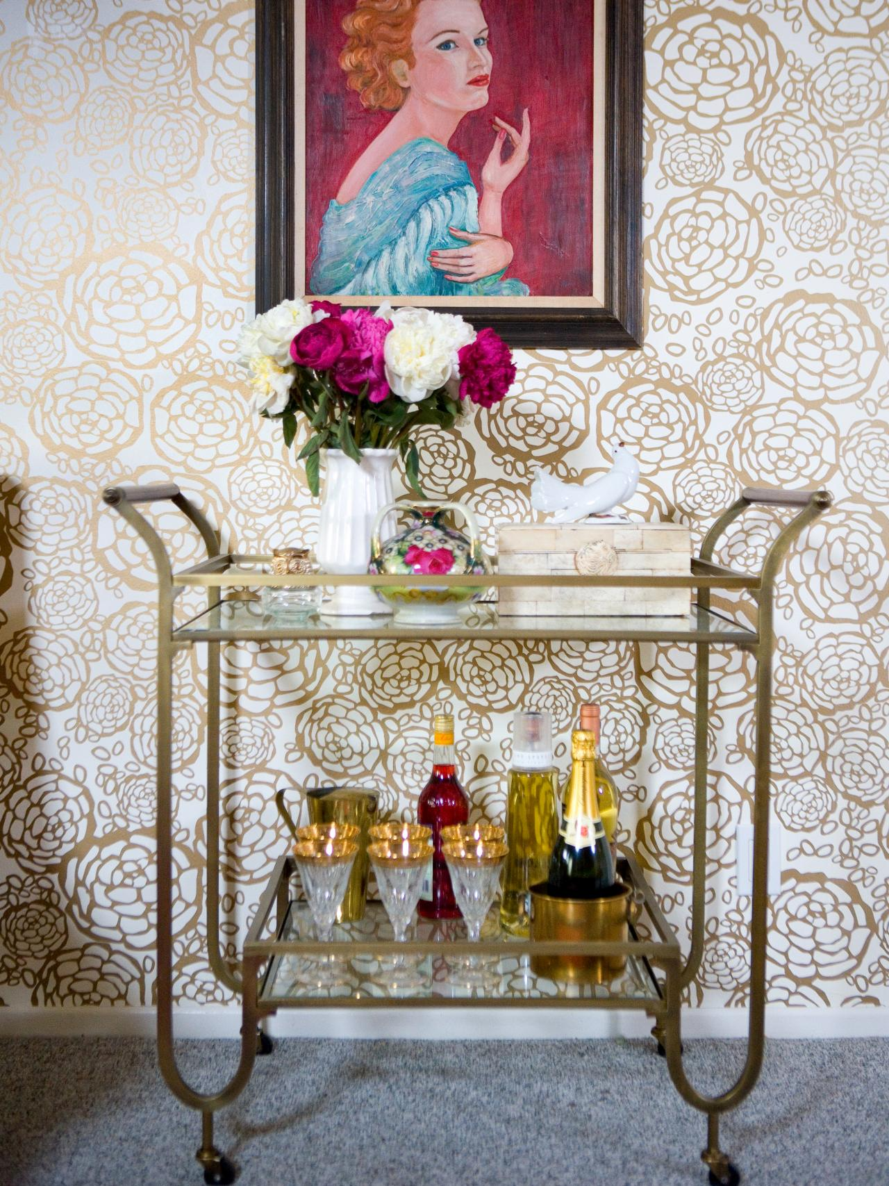 kathy kuo home bar cart - How To Style A Bar Cart