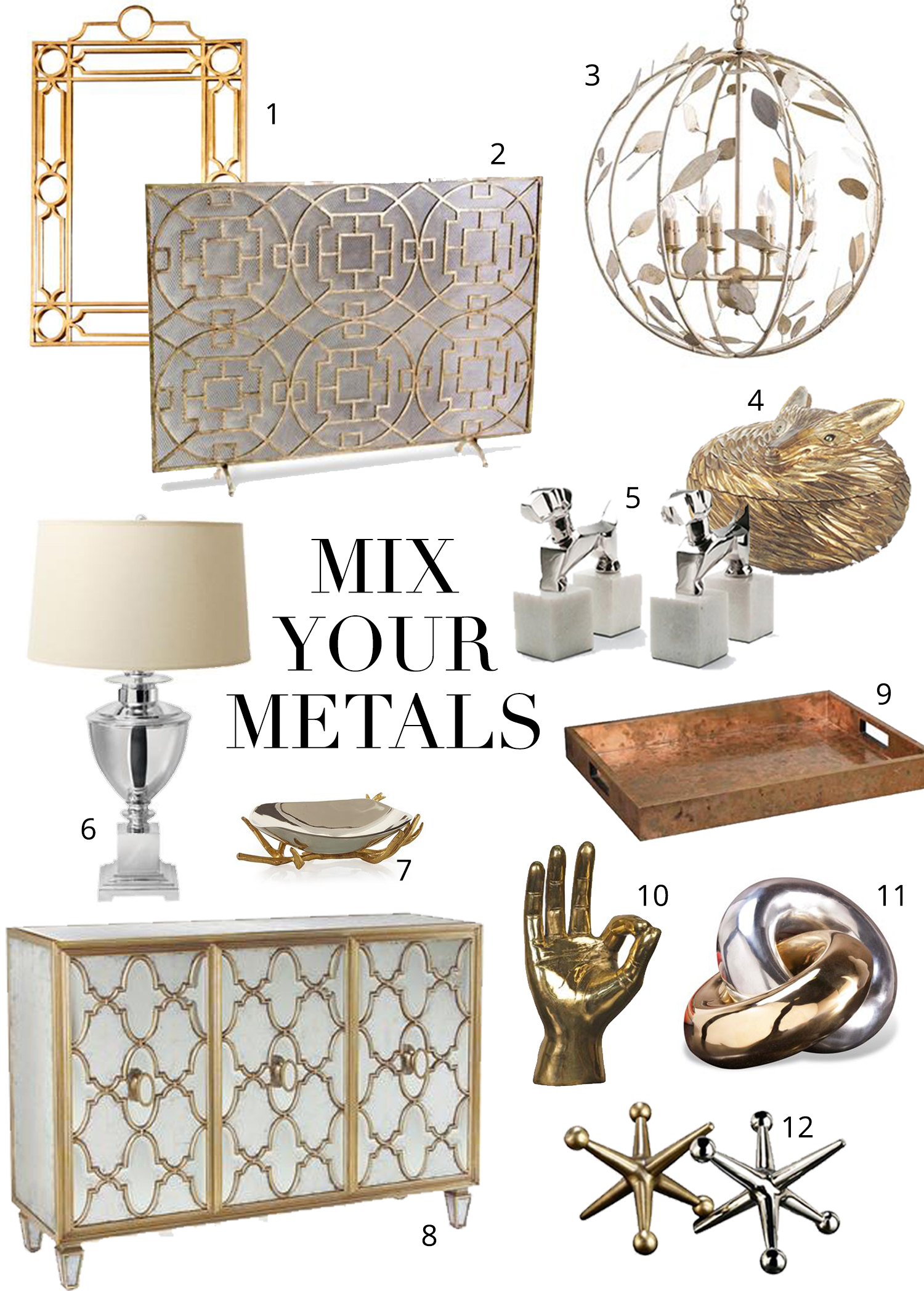 Mixing metals the do 39 s and don 39 ts for Home decor accents