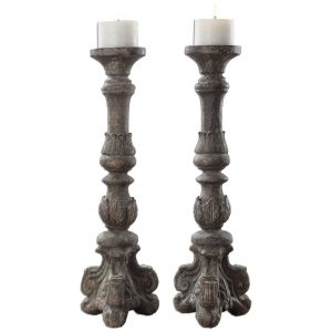 Bastia French Country Antique Grey Candle Stick - Set of 2