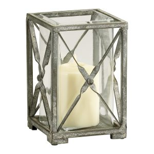 Antique Moss Grey Wash Wrought Iron Square Candle Hurricane