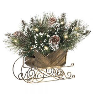 "Earl 10"" Glittery Bristle Pine Sleigh Centerpiece with Pine Cones and Lights"