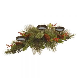 "Noah 30"" Wintry Pine Centerpiece Candleholder with Pine Cones and Red Berries"
