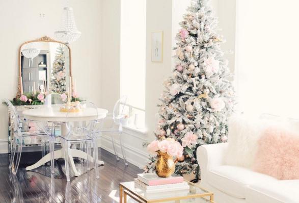 pin and white Christmas tree