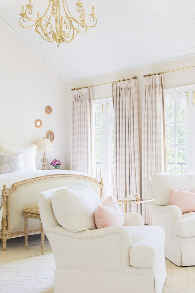 pink and white bedroom interior