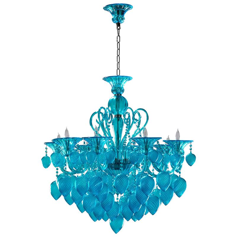 Bella Vetro Light Blue Aqua Murano Glass 8 Light Ornament Chandelier