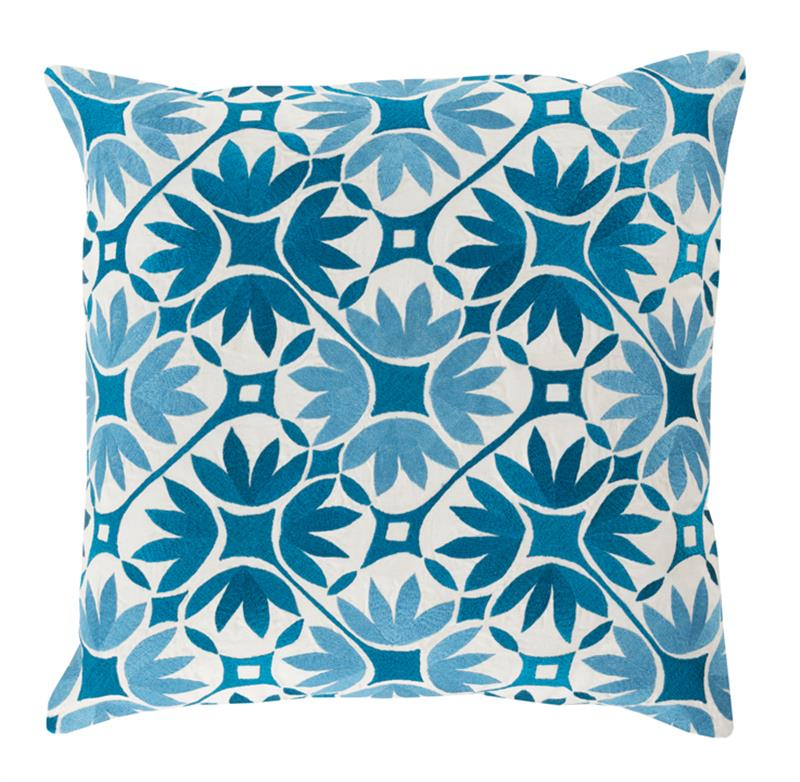 Dades Global Bazaar Cotton Down Blue Tile Pillow - 20x20