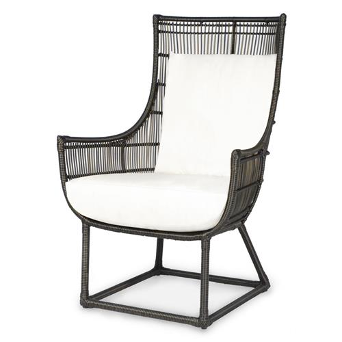 Tyler Modern Classic Faux Wicker Espresso Outdoor Lounge Chair