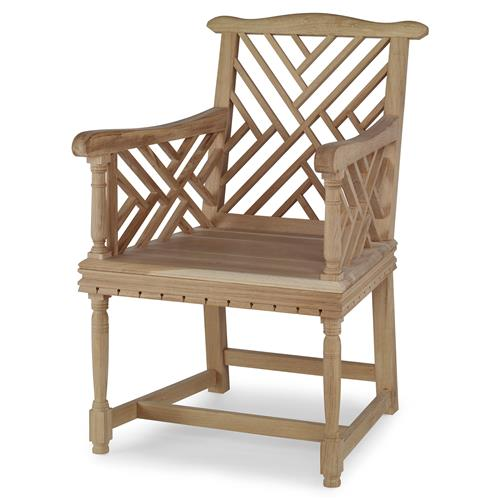 Heathrow Country Coastal English Garden Oak Arm Chair