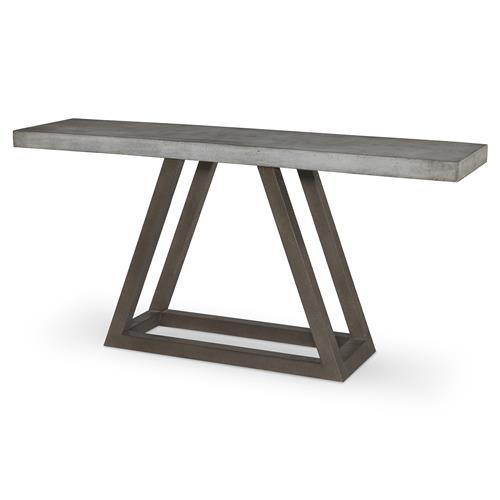 Bourne Industrial Grey Stone Steel Triangle Console Table