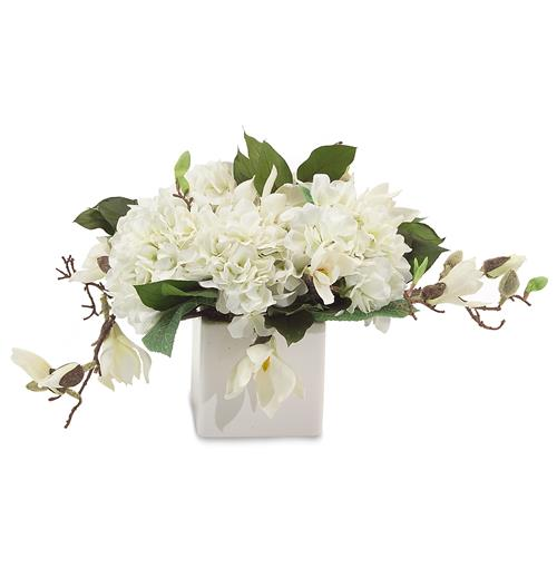 Faux White Annabelle Hydrangea Flowers Magnolia Branches in White Cube Vase