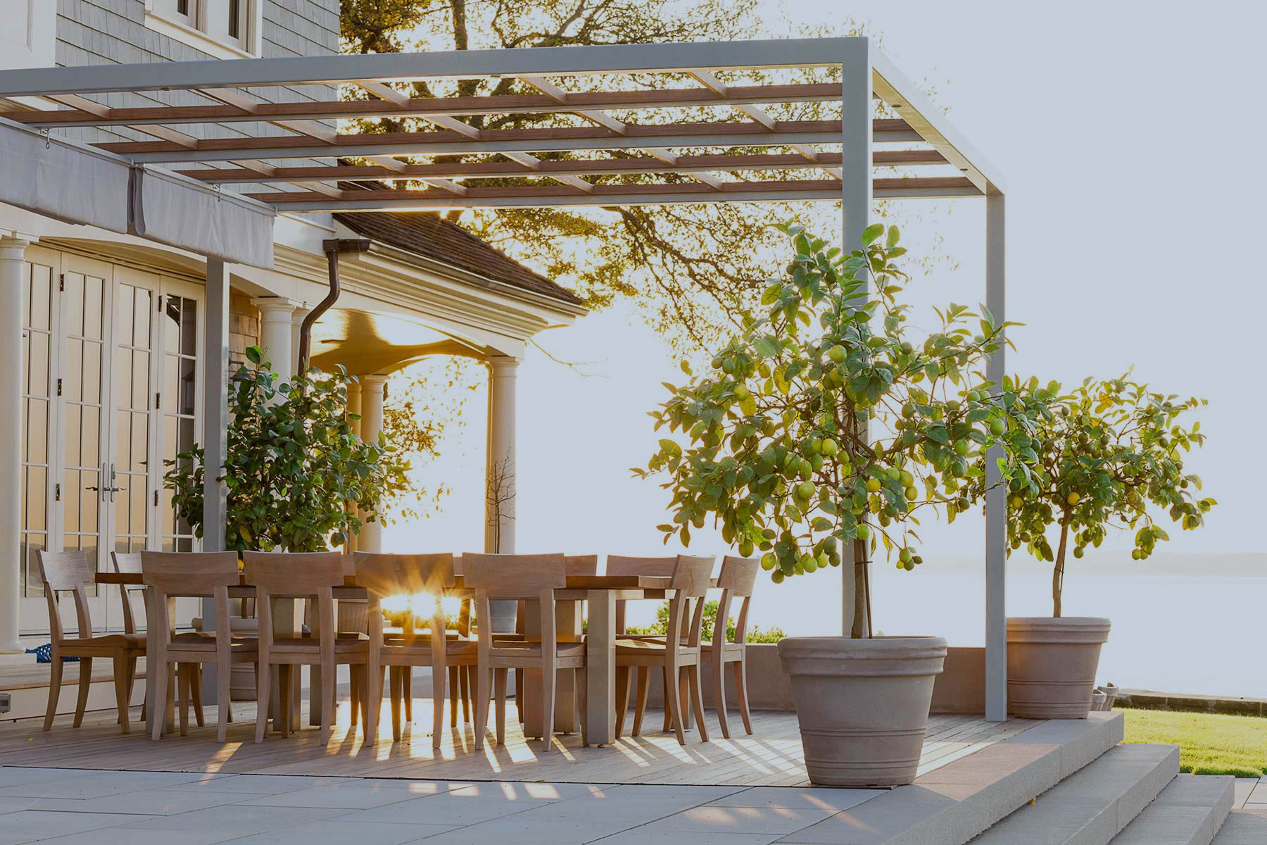 Westchester Deck and Pergola by Gunn Landscape Architecture
