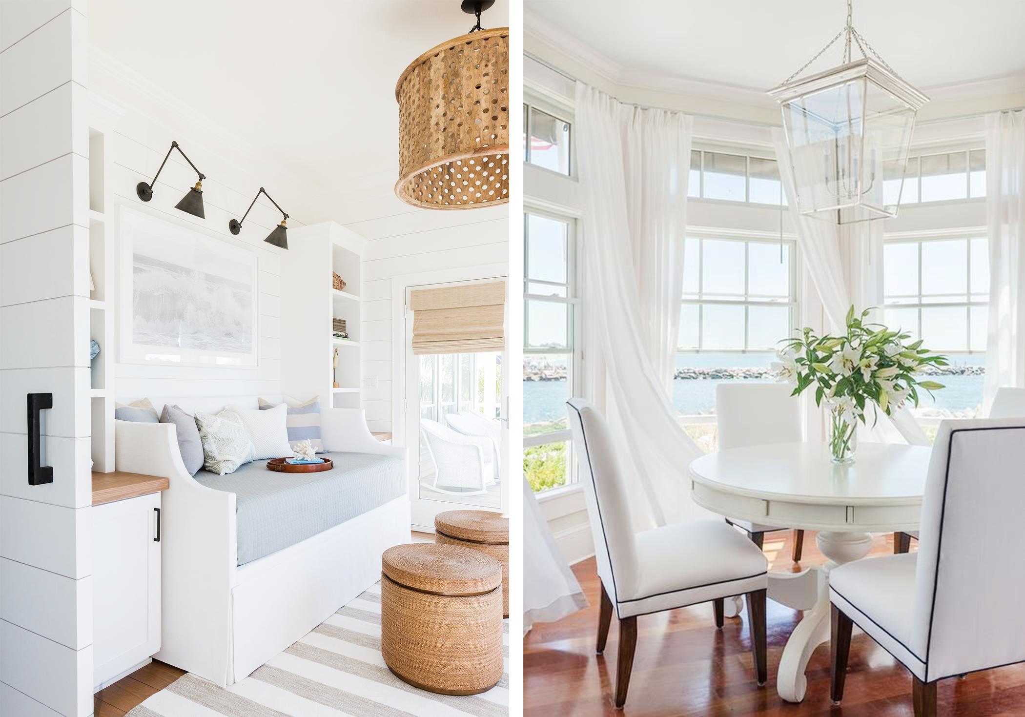 collage of nautical home design interiors