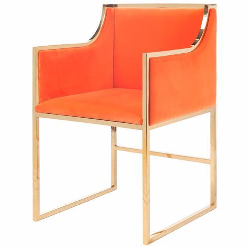 Anastasia Hollywood Regency Orange Velvet Brass Frame Dining Chair