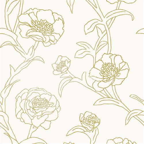 Peonies Modern Classic Gold Ivory Floral Removable Wallpaper