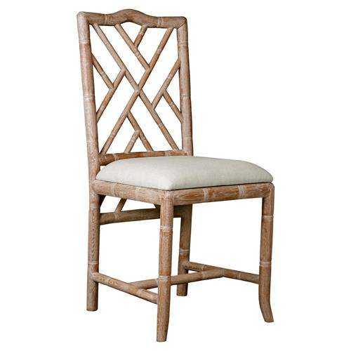 Crain Hollywood Regency Bamboo Fret Oak Dining Chair