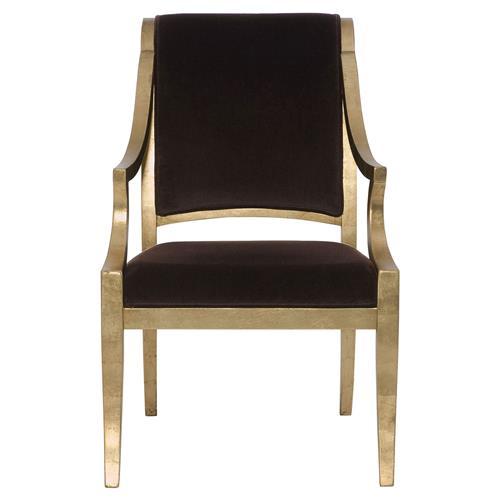 Icarus Global Bazaar Chocolate Brown Gold Leaf Arm Chair