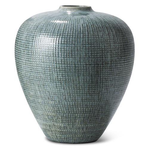 Bayridge Coastal Beach Light Blue Small Silver Bulbous Vase
